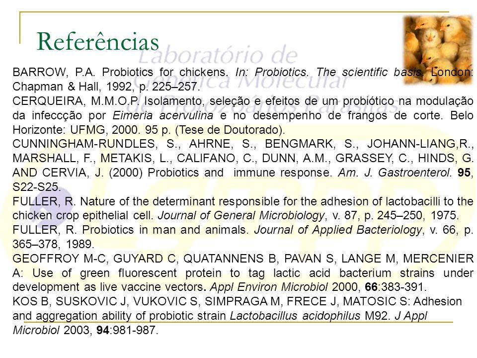 ReferênciasBARROW, P.A. Probiotics for chickens. In: Probiotics. The scientific basis. London: Chapman & Hall, 1992, p. 225–257.