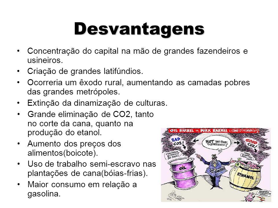 Desvantagens Concentração do capital na mão de grandes fazendeiros e usineiros. Criação de grandes latifúndios.
