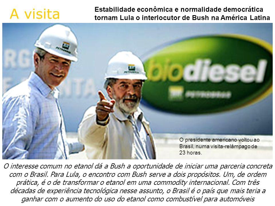 A visitaEstabilidade econômica e normalidade democrática tornam Lula o interlocutor de Bush na América Latina.