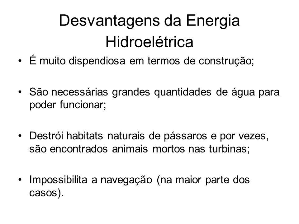 Desvantagens da Energia Hidroelétrica