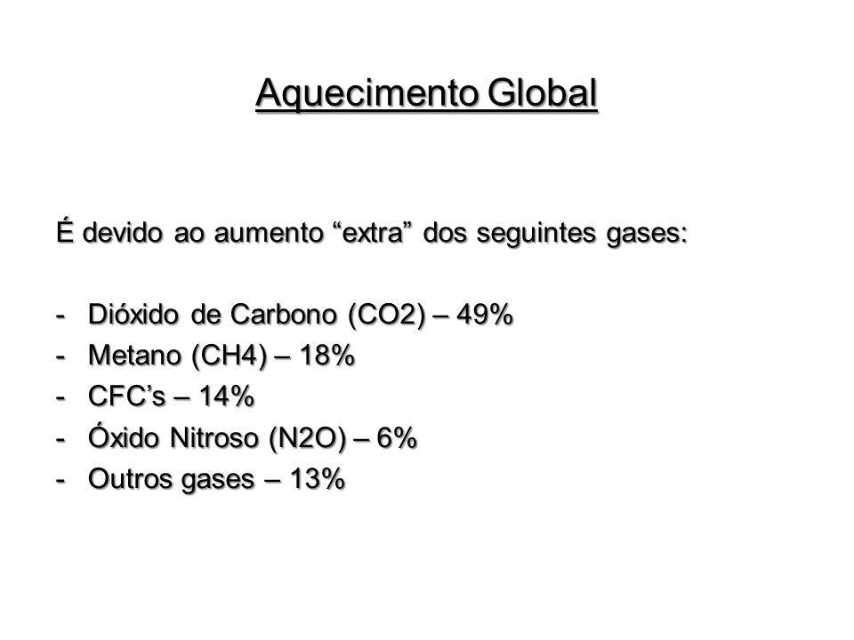 Aquecimento Global É devido ao aumento extra dos seguintes gases:
