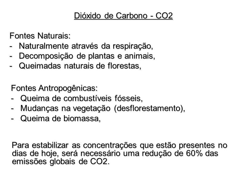 Dióxido de Carbono - CO2Fontes Naturais: Naturalmente através da respiração, Decomposição de plantas e animais,
