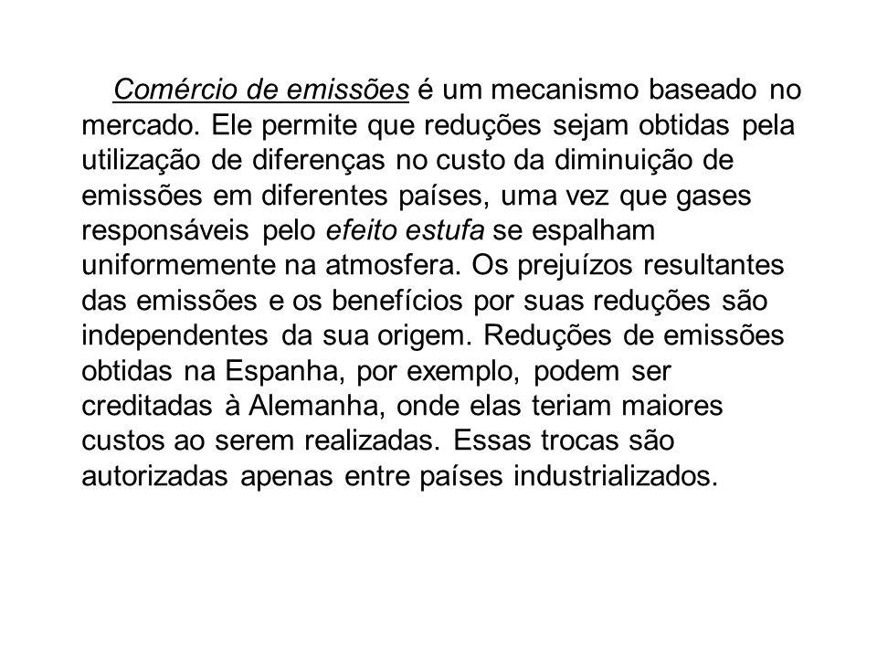 O Comércio de emissões é um mecanismo baseado no