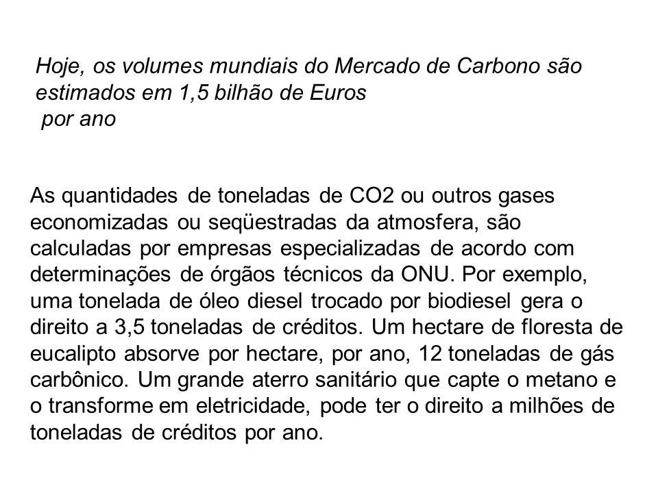 Hoje, os volumes mundiais do Mercado de Carbono são estimados em 1,5 bilhão de Euros
