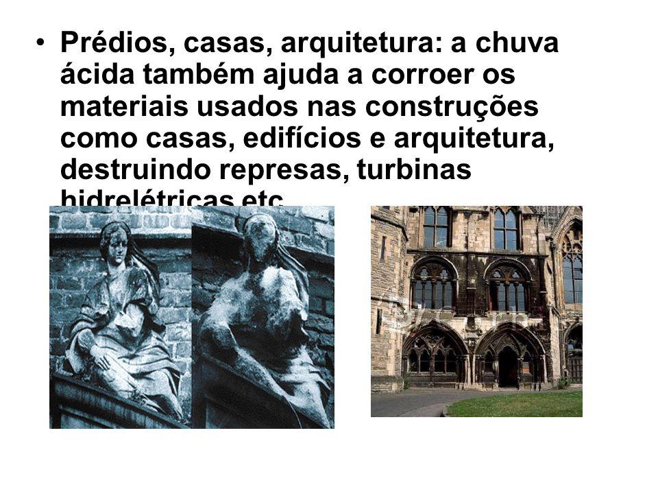 Prédios, casas, arquitetura: a chuva ácida também ajuda a corroer os materiais usados nas construções como casas, edifícios e arquitetura, destruindo represas, turbinas hidrelétricas etc