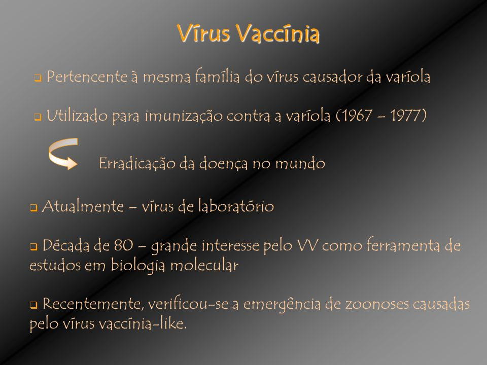 Vírus Vaccínia Pertencente à mesma família do vírus causador da varíola. Utilizado para imunização contra a varíola (1967 – 1977)