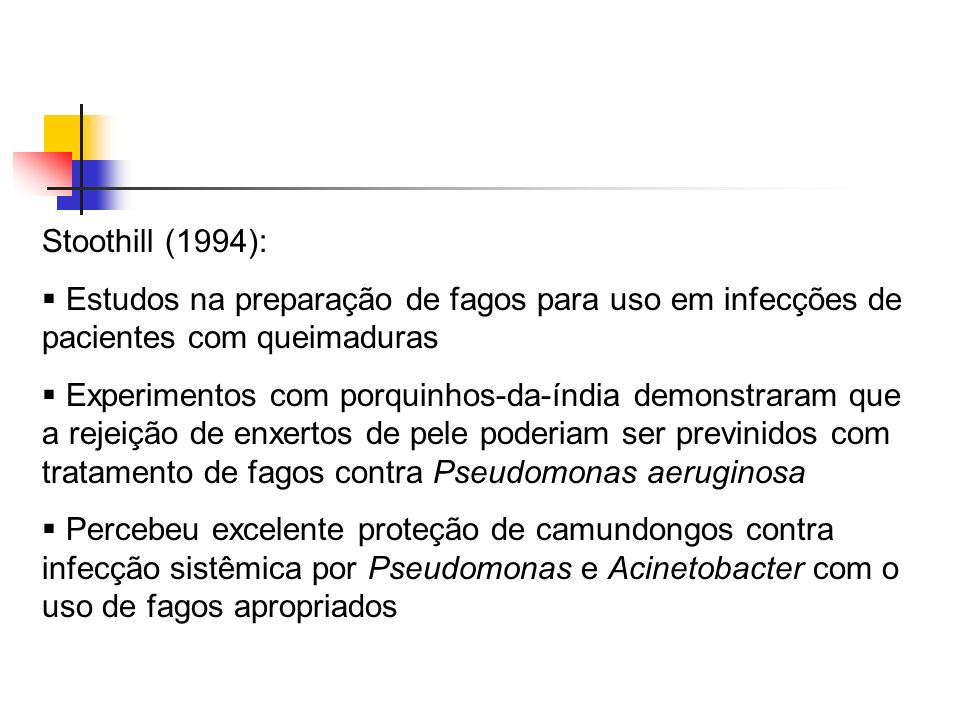 Stoothill (1994):Estudos na preparação de fagos para uso em infecções de pacientes com queimaduras.
