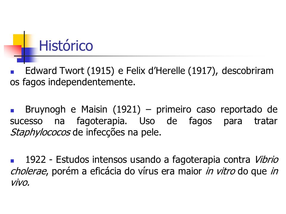 HistóricoEdward Twort (1915) e Felix d'Herelle (1917), descobriram os fagos independentemente.