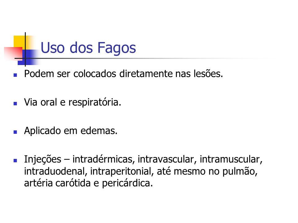 Uso dos Fagos Podem ser colocados diretamente nas lesões.