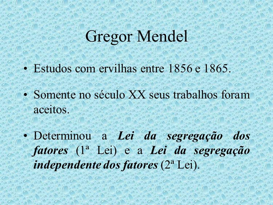 Gregor Mendel Estudos com ervilhas entre 1856 e 1865.