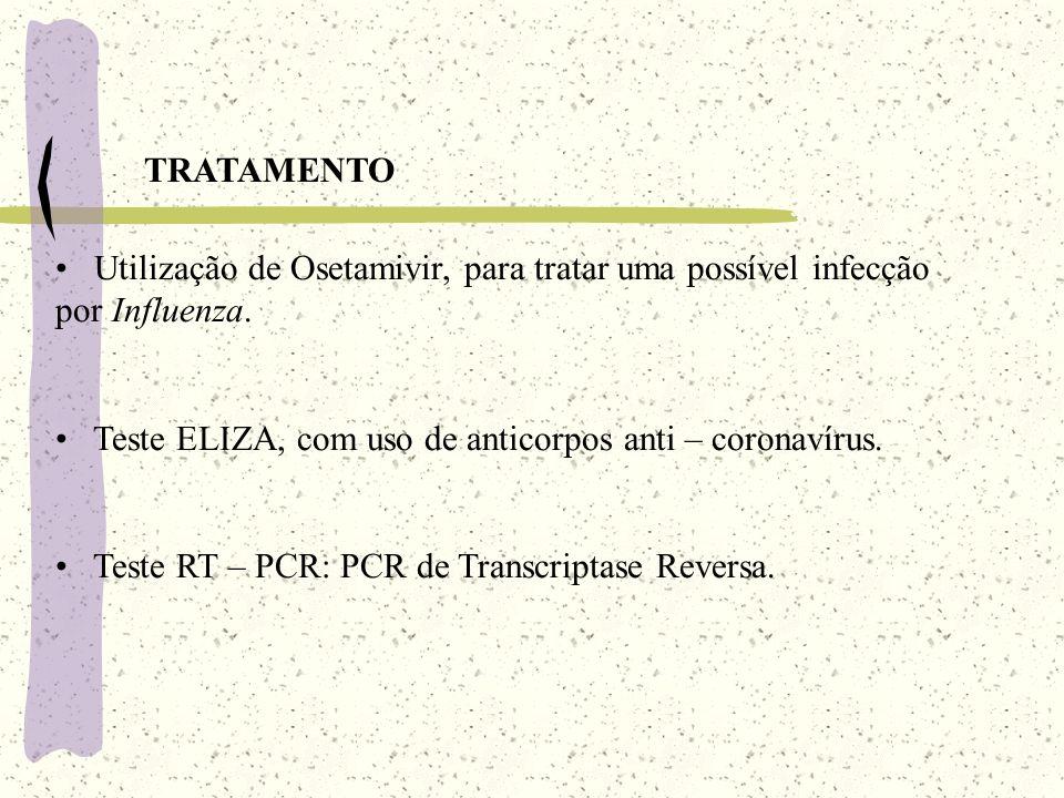 TRATAMENTO Utilização de Osetamivir, para tratar uma possível infecção por Influenza. Teste ELIZA, com uso de anticorpos anti – coronavírus.