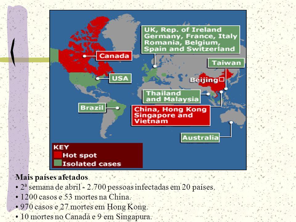 Mais países afetados 2ª semana de abril - 2.700 pessoas infectadas em 20 países. 1200 casos e 53 mortes na China.
