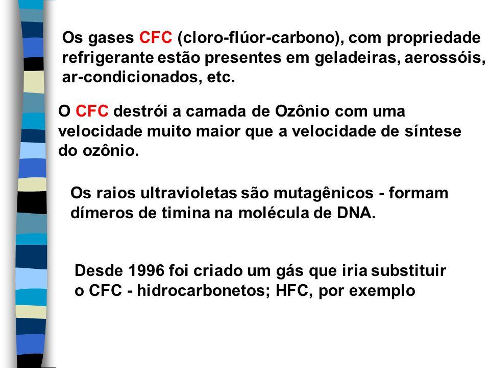 Os gases CFC (cloro-flúor-carbono), com propriedade