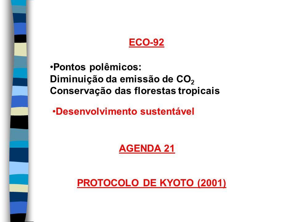 ECO-92 Pontos polêmicos: Diminuição da emissão de CO2. Conservação das florestas tropicais. Desenvolvimento sustentável.