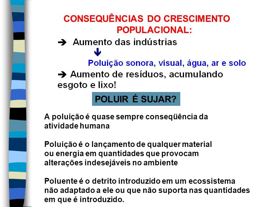 CONSEQUÊNCIAS DO CRESCIMENTO POPULACIONAL: