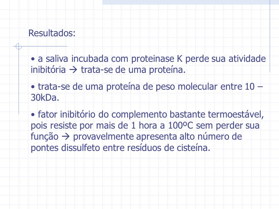 Resultados: a saliva incubada com proteinase K perde sua atividade inibitória  trata-se de uma proteína.