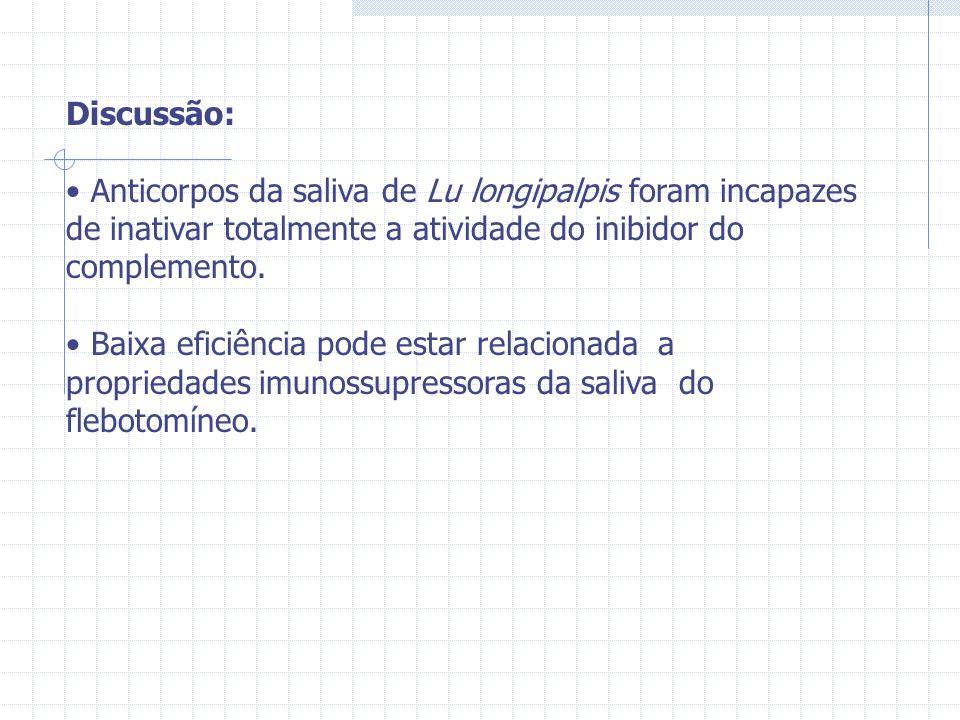 Discussão: Anticorpos da saliva de Lu longipalpis foram incapazes de inativar totalmente a atividade do inibidor do complemento.