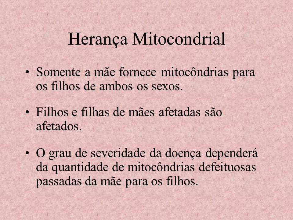 Herança Mitocondrial Somente a mãe fornece mitocôndrias para os filhos de ambos os sexos. Filhos e filhas de mães afetadas são afetados.