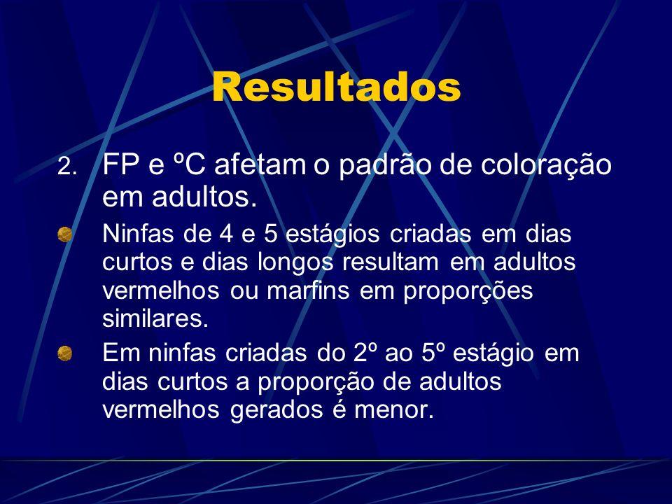 Resultados FP e ºC afetam o padrão de coloração em adultos.