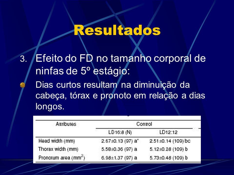 Resultados Efeito do FD no tamanho corporal de ninfas de 5º estágio: