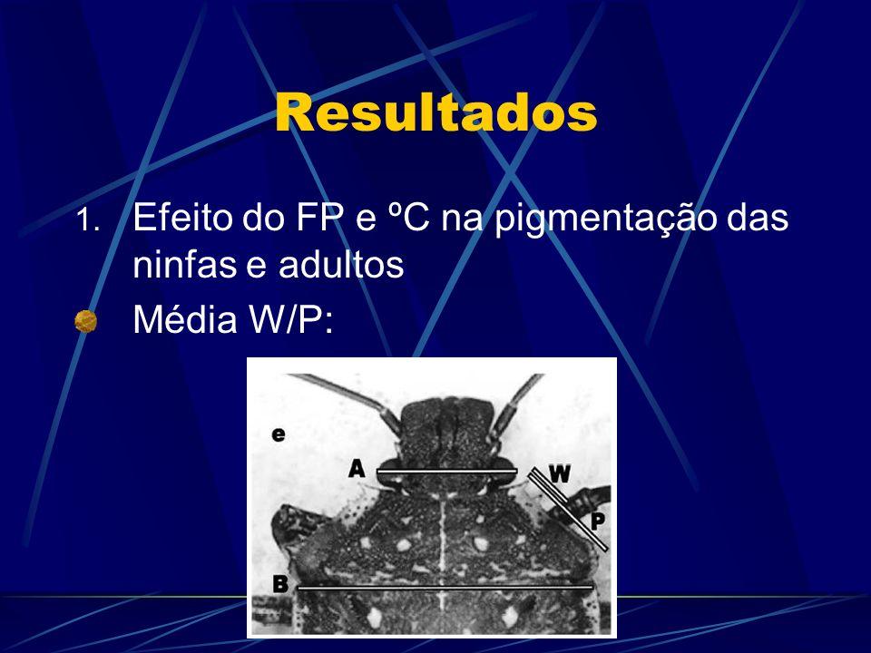 Resultados Efeito do FP e ºC na pigmentação das ninfas e adultos
