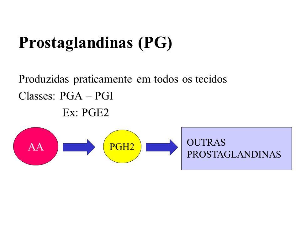 Prostaglandinas (PG) Produzidas praticamente em todos os tecidos