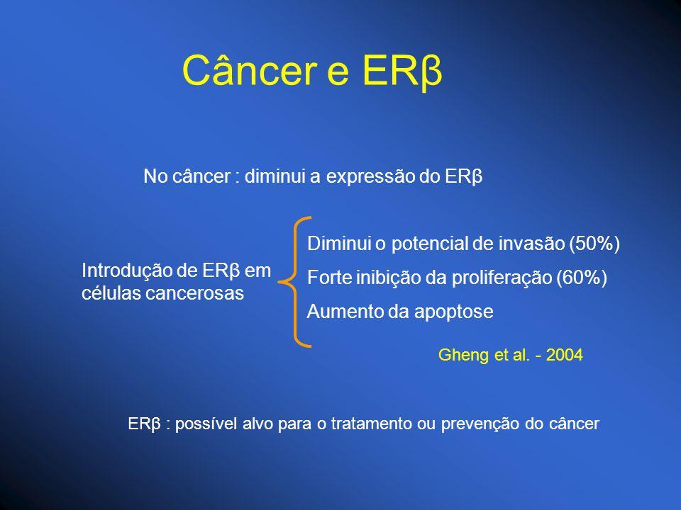 Câncer e ERβ No câncer : diminui a expressão do ERβ