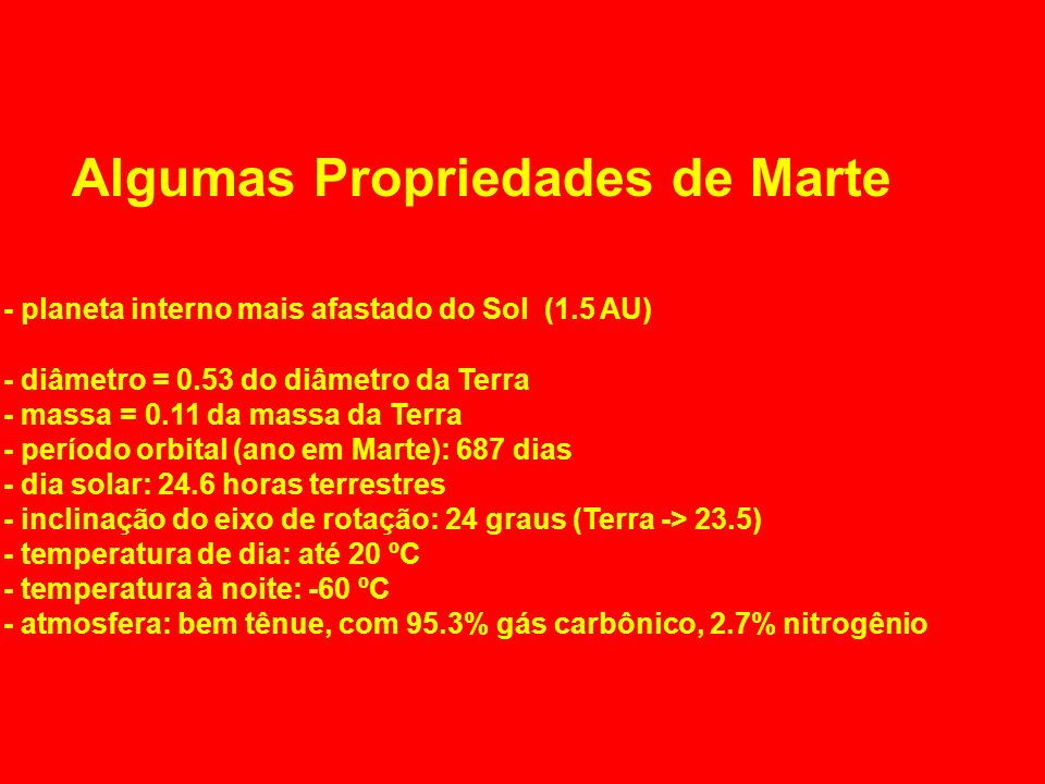 Algumas Propriedades de Marte