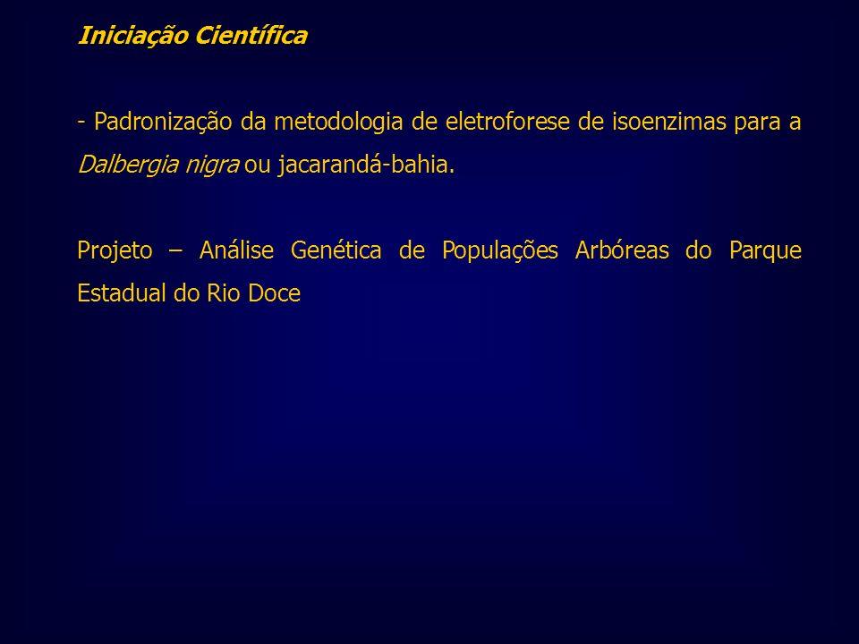 Iniciação Científica - Padronização da metodologia de eletroforese de isoenzimas para a Dalbergia nigra ou jacarandá-bahia.