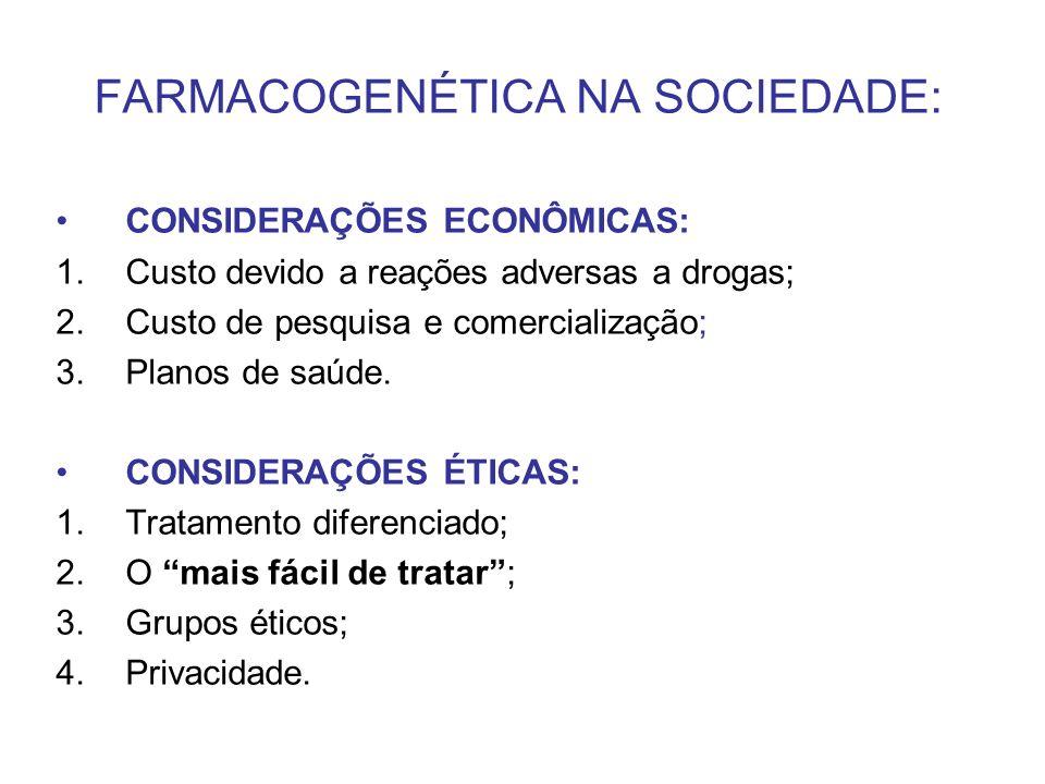 FARMACOGENÉTICA NA SOCIEDADE: