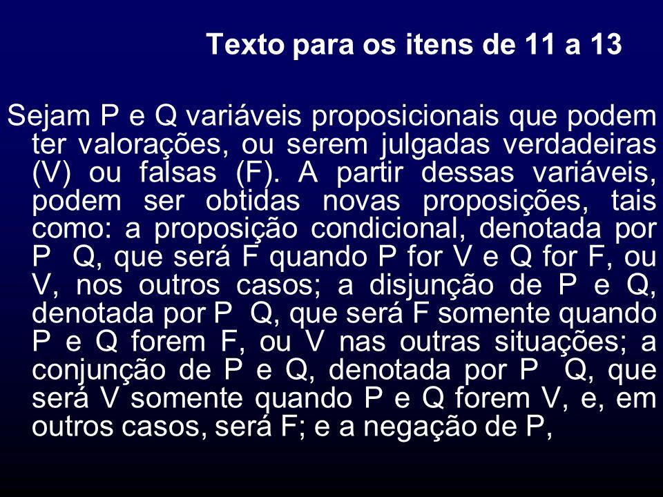 Texto para os itens de 11 a 13