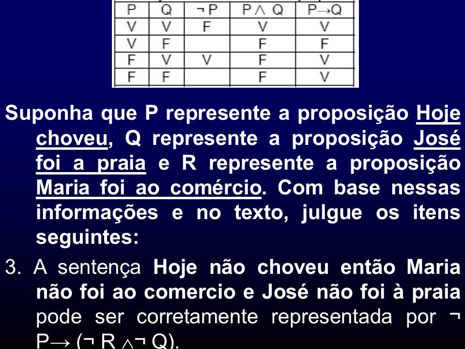 Suponha que P represente a proposição Hoje choveu, Q represente a proposição José foi a praia e R represente a proposição Maria foi ao comércio. Com base nessas informações e no texto, julgue os itens seguintes:
