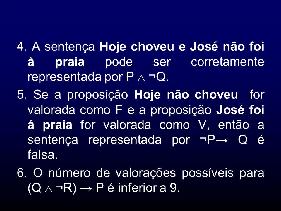 4. A sentença Hoje choveu e José não foi à praia pode ser corretamente representada por P  ¬Q.