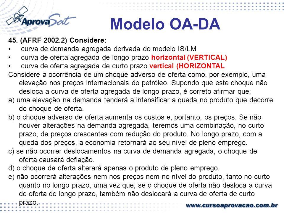 Modelo OA-DA 45. (AFRF 2002.2) Considere: