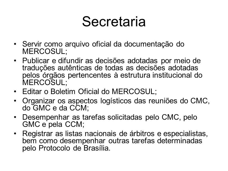 Secretaria Servir como arquivo oficial da documentação do MERCOSUL;
