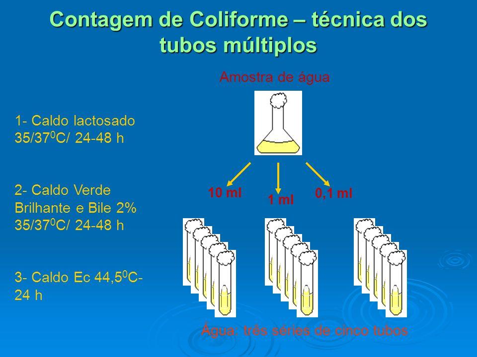 Contagem de Coliforme – técnica dos tubos múltiplos