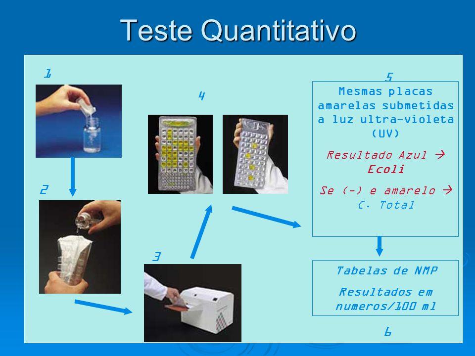 Teste Quantitativo1. 5. Mesmas placas amarelas submetidas a luz ultra-violeta (UV) Resultado Azul  Ecoli.