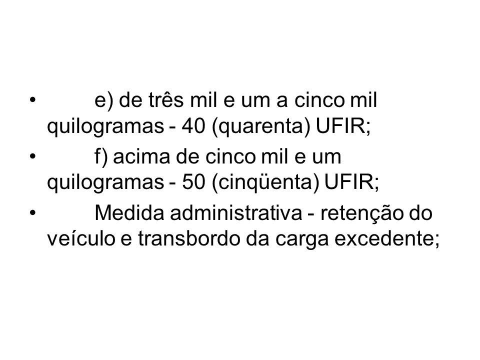 e) de três mil e um a cinco mil quilogramas - 40 (quarenta) UFIR;