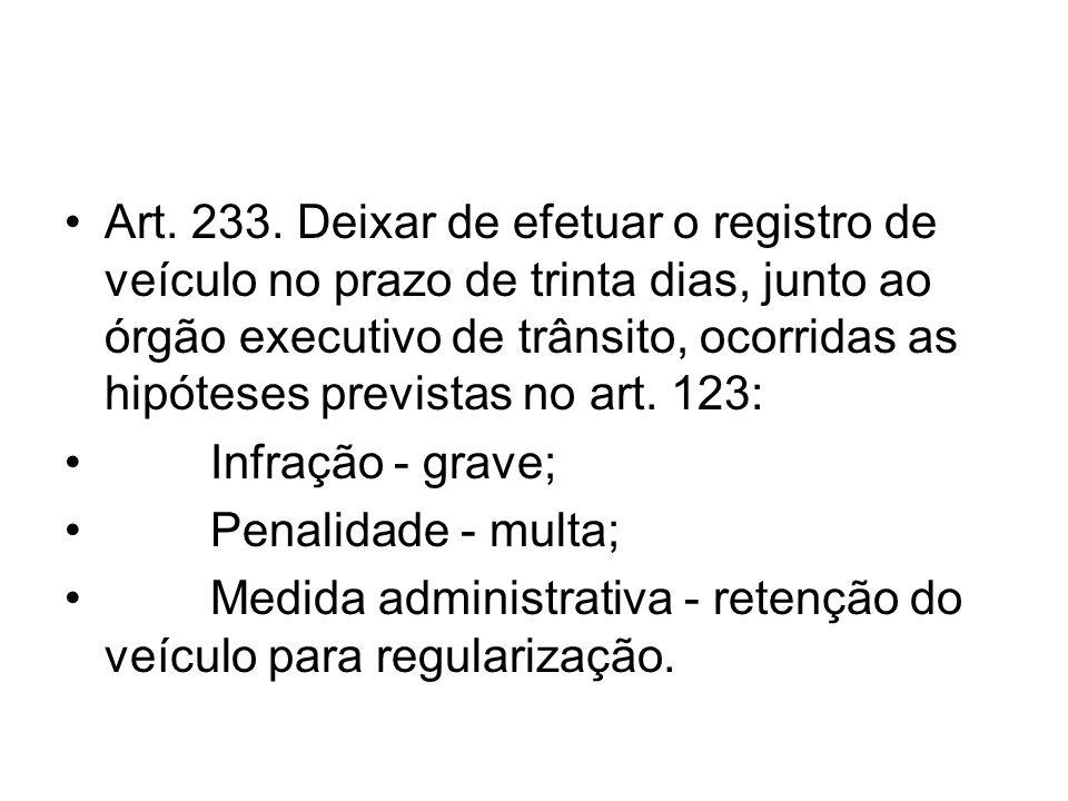 Art. 233. Deixar de efetuar o registro de veículo no prazo de trinta dias, junto ao órgão executivo de trânsito, ocorridas as hipóteses previstas no art. 123: