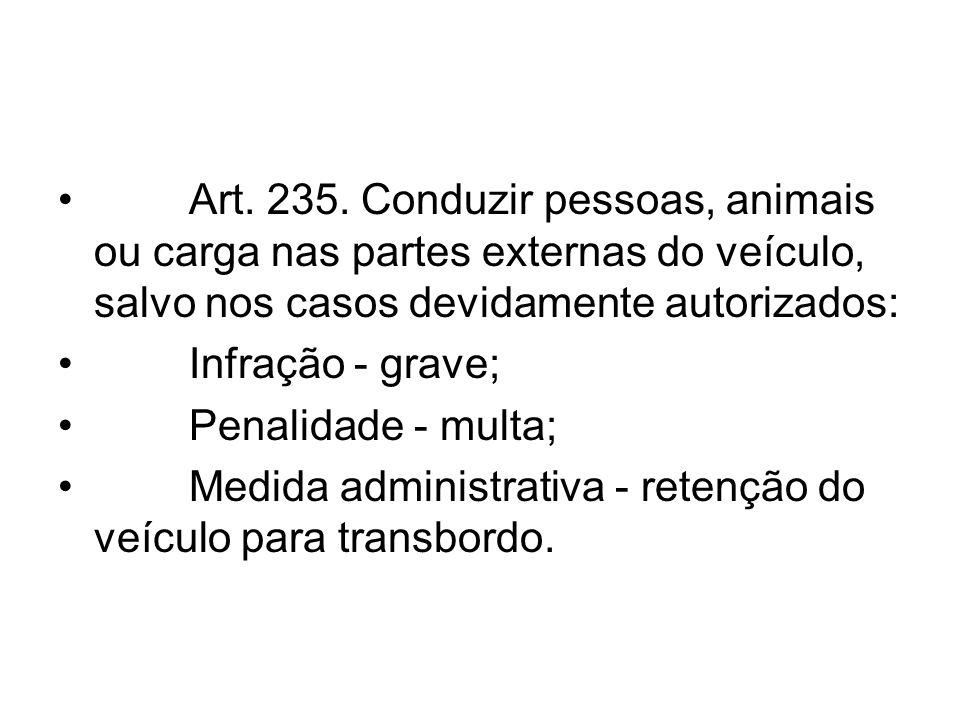 Art. 235. Conduzir pessoas, animais ou carga nas partes externas do veículo, salvo nos casos devidamente autorizados: