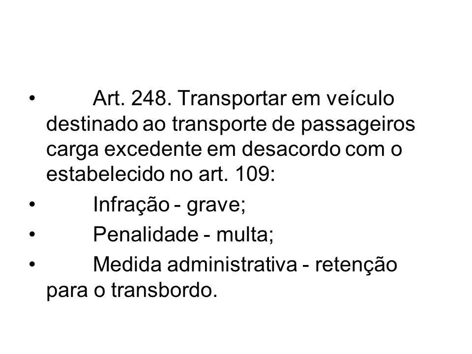 Art. 248. Transportar em veículo destinado ao transporte de passageiros carga excedente em desacordo com o estabelecido no art. 109: