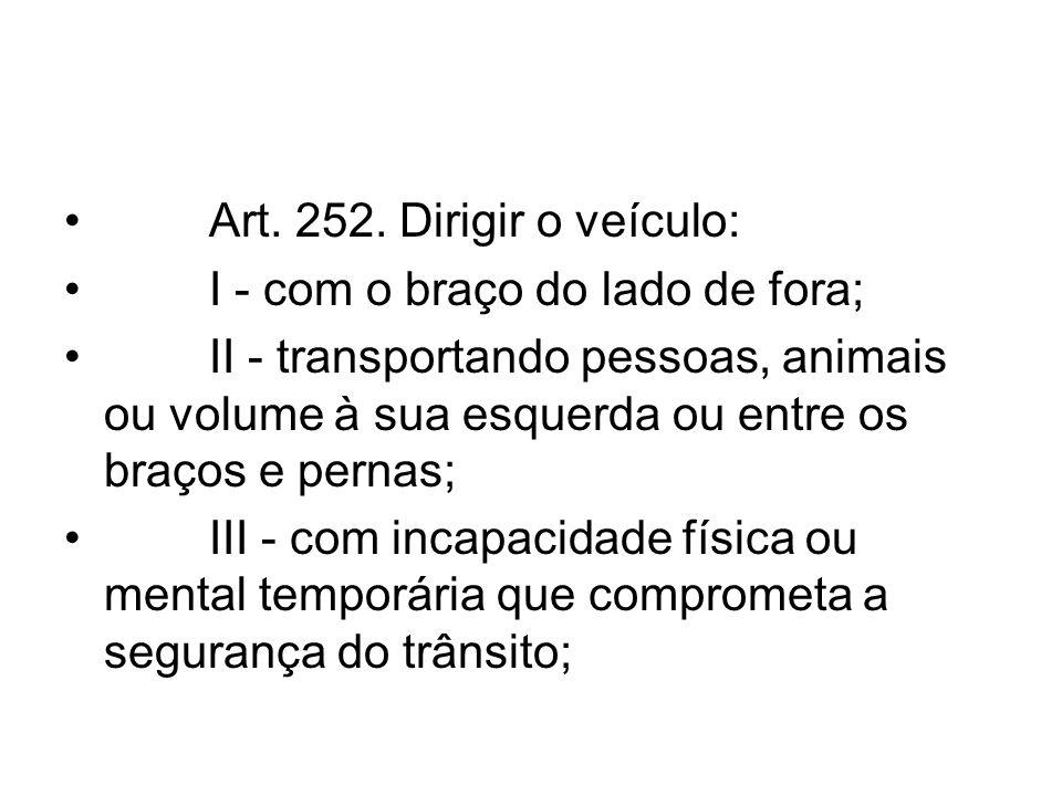 Art. 252. Dirigir o veículo: I - com o braço do lado de fora;