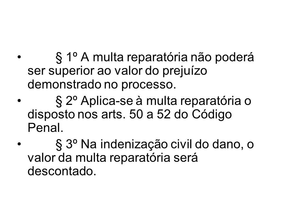 § 1º A multa reparatória não poderá ser superior ao valor do prejuízo demonstrado no processo.
