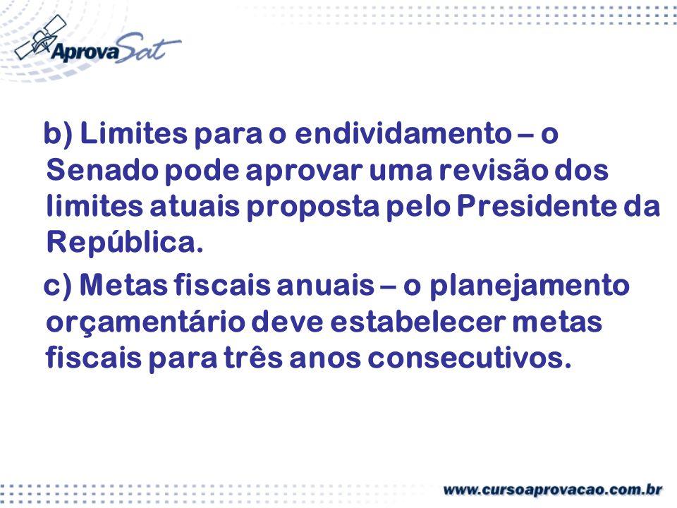b) Limites para o endividamento – o Senado pode aprovar uma revisão dos limites atuais proposta pelo Presidente da República.