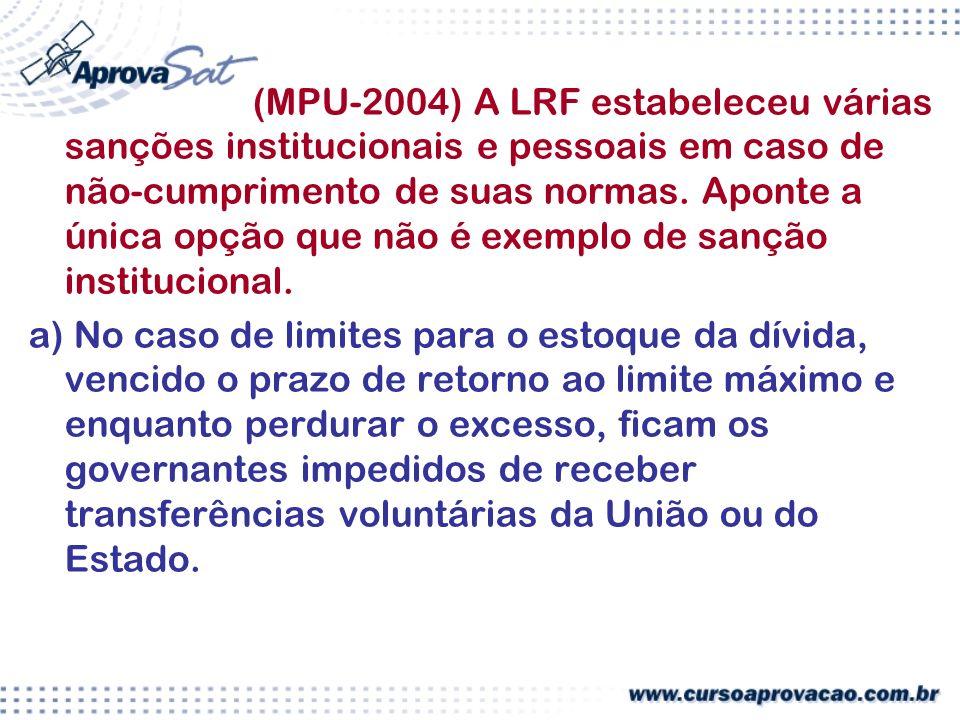 (MPU-2004) A LRF estabeleceu várias sanções institucionais e pessoais em caso de não-cumprimento de suas normas. Aponte a única opção que não é exemplo de sanção institucional.