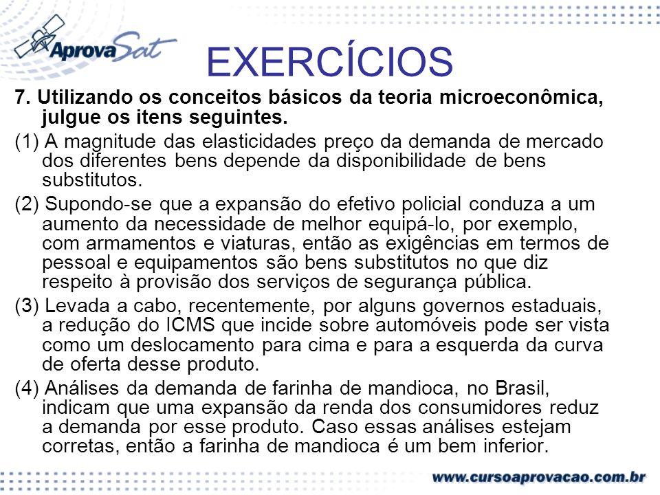 EXERCÍCIOS 7. Utilizando os conceitos básicos da teoria microeconômica, julgue os itens seguintes.
