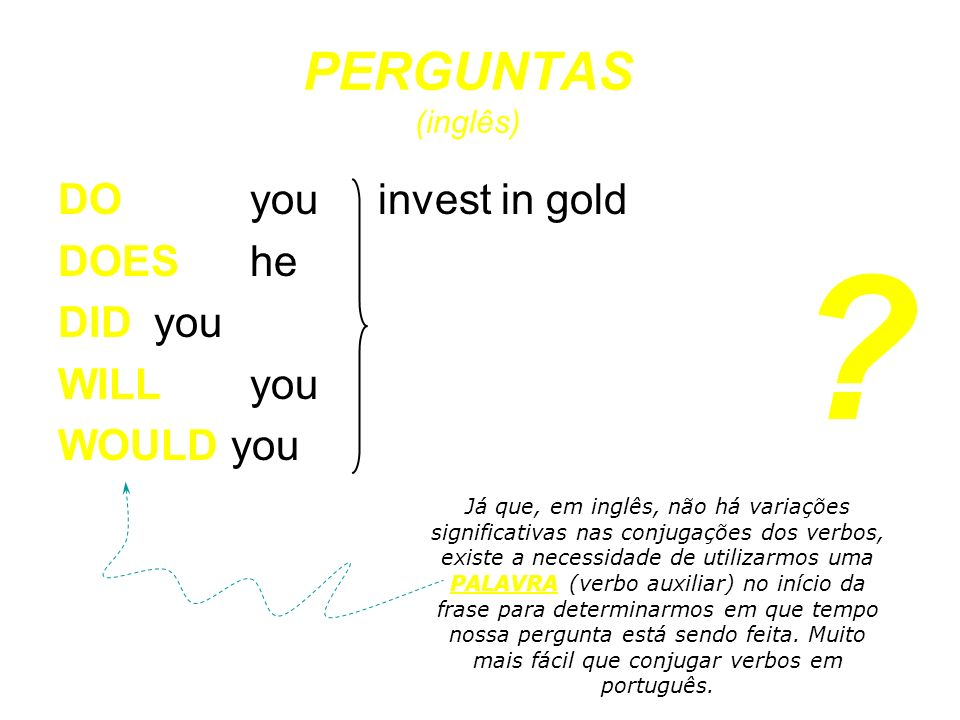 PERGUNTAS (inglês) DO you invest in gold DOES he DID you WILL you