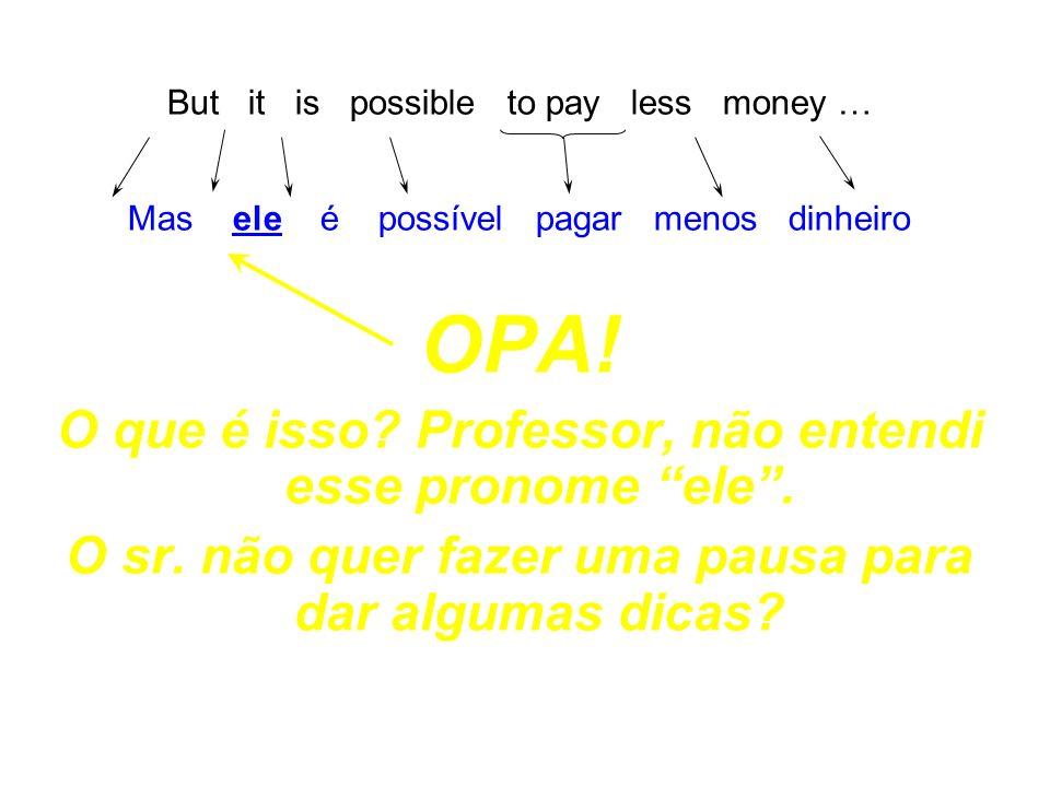 OPA! O que é isso Professor, não entendi esse pronome ele .