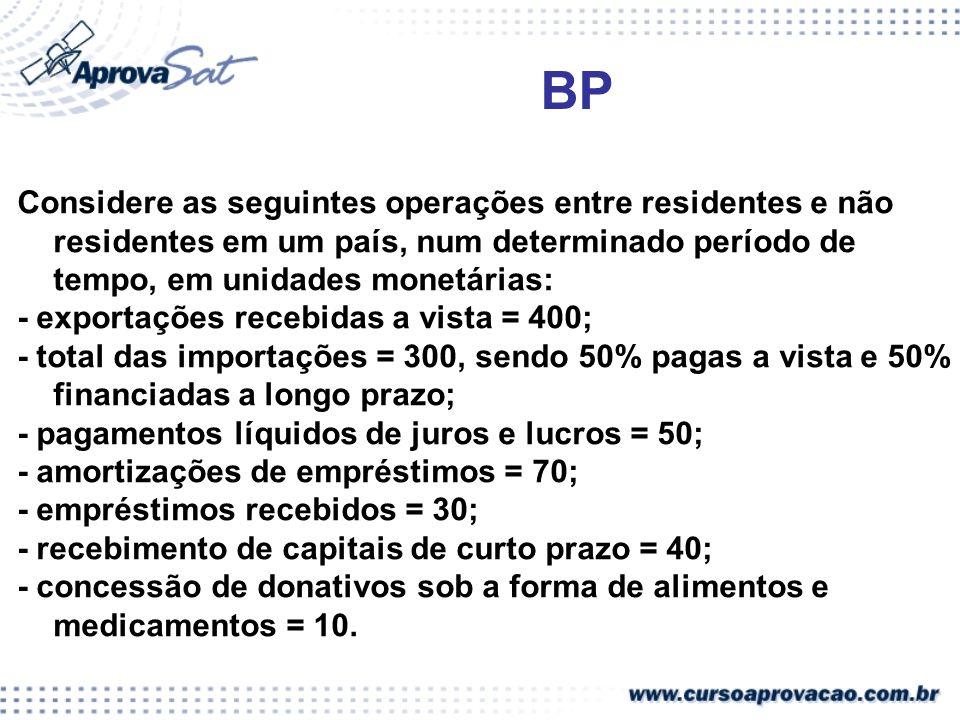 BP Considere as seguintes operações entre residentes e não residentes em um país, num determinado período de tempo, em unidades monetárias: