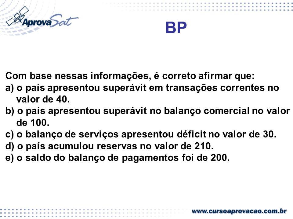 BP Com base nessas informações, é correto afirmar que: